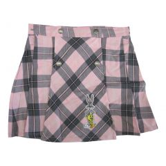 WB Big Girls Pink Plaid Looney Tunes Character Applique Button Skirt 7-12