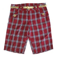 Disney Big Girls Red Plaid Jonas Brothers Style Gold Belted Shorts 8-16