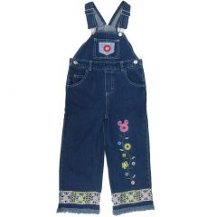 Disney Little Girls Blue Mickey Mouse Embroidered Overalls 4-7