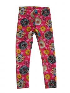 Wasabi & Ginger Big Girls Pink Donut Print Soft Stretchy Leggings 7-16