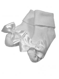 Little Things Mean A Lot Baby Girls White Cotton Bow Socks 0-24M