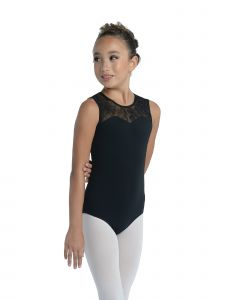 DanzNmotion Big Girls Black Clear Sequin Embellished Tank Leotard 6X-14