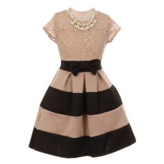 Little Girls Black Lace Necklace Color Block Special Occasion Party Dress 2-6