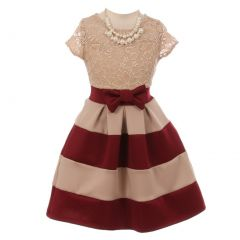 Big Girls Burgundy Lace Necklace Color Block Special Occasion Dress 8-14