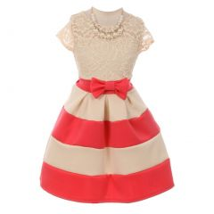 Little Girls Coral Lace Necklace Color Block Special Occasion Party Dress 2-6
