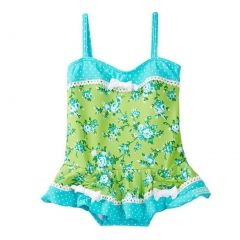Azul Baby Girls Turquoise Green Garden Party Skirted One Piece Swimsuit 12-24M