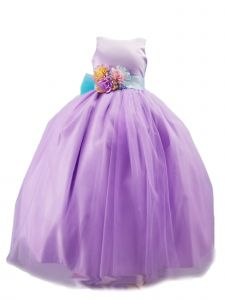 Sinai Kids Big Girls Purple Unicorn Solid Tulle Bow Junior Bridesmaid Dress 8