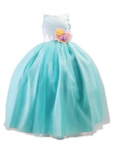 Sinai Kids Big Girls Mint Unicorn Solid Tulle Bow Junior Bridesmaid Dress 8-12