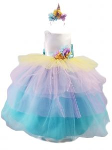 Girls Multi Color Unicorn Ruffle Headband Junior Bridesmaid Dress 6M-12
