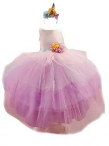 Sinai Kids Big Girls Purple Unicorn Ruffle Headband Junior Bridesmaid Dress 8