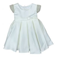 Petite Adele Baby Girls Ivory Dull Satin Beaded Flower Girl Dress 6-24M