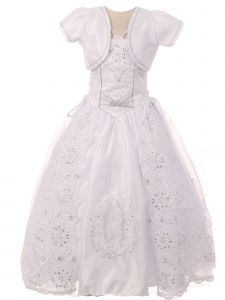 Big Girls White Satin Embroidered Lace Criss Cross Bolero Communion Dress 7-24