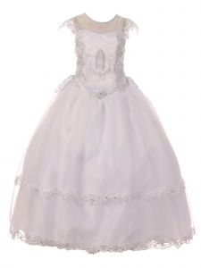 Big Girls White Illusion Neck Embroidered Satin Organza Communion Dress 7-20