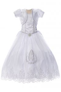 Big Girls White Virgin Mary Rhinestone Brooch Bolero Communion Dress 7-24