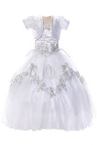 Big Girls White Virgin Mary Beaded Lace Bow Bolero Communion Dress 7-24