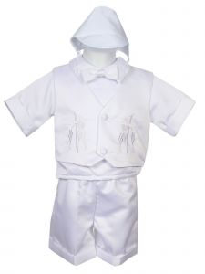 Rain Kids Baby Boys White 4 pc Embroidered Vest Hat Baptism Outfit 3-24M