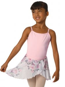 DanzNmotion Girls Multi Color Rose Print Sheer Nylon Mock Wrap Style Skirt T-XL
