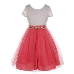 Little Girls Coral Lace Shiny Tulle Stone Adorned Belt Flower Girl Dress 2-6