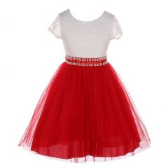 Little Girls Red Lace Shiny Tulle Stone Adorned Belt Flower Girl Dress 2-6
