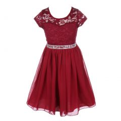 Little Girls Burgundy Lace Stone Belt Chiffon Flower Girl Party Dress 2-6
