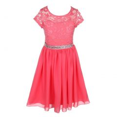 Little Girls Coral Lace Stone Belt Chiffon Flower Girl Party Dress 2-6