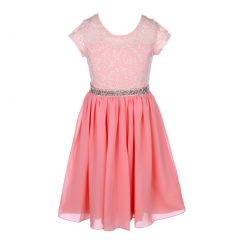 Little Girls Peach Lace Stone Belt Chiffon Flower Girl Party Dress 2-6