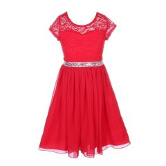 Little Girls Red Lace Glitter Stone Belt Chiffon Flower Girl Party Dress 2-6
