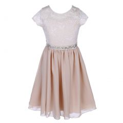 Little Girls Champagne Lace Stone Belt Chiffon Flower Girl Party Dress 2-6