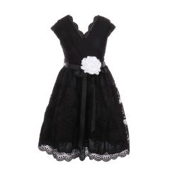 Little Girls Black Flower Border Stretch Lace Special Occasion Dress 2-6