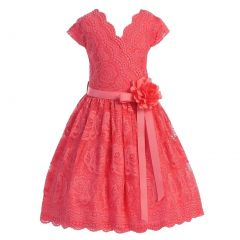 Little Girls Coral Flower Border Stretch Lace Special Occasion Dress 2-6