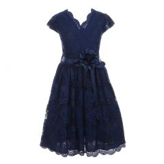 Little Girls Navy Flower Border Stretch Lace Stylish Special Occasion Dress 2-6