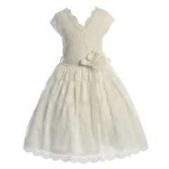 Big Girls Off-White Flower Border Stretch Lace Special Occasion Dress 8-14