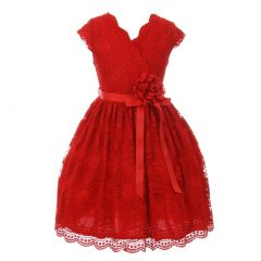 Little Girls Red Flower Border Stretch Lace Stylish Special Occasion Dress 2-6