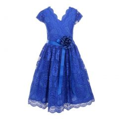 Big Girls Royal Blue Flower Border Stretch Lace Special Occasion Dress 8-14