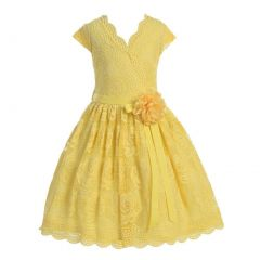 Little Girls Yellow Flower Border Stretch Lace Special Occasion Dress 2-6