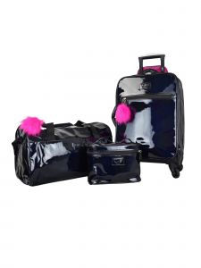 ATM Vue Metallic Collection Black Premium Carry On Deluxe 3 Pc Luggage Set