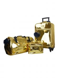 ATM Vue Metallic Collection Gold Premium Carry On Deluxe 3 Pc Luggage Set