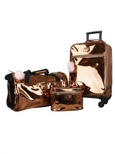 ATM Vue Metallic Collection Rose Gold Premium Carry On 3 Pc Luggage Set