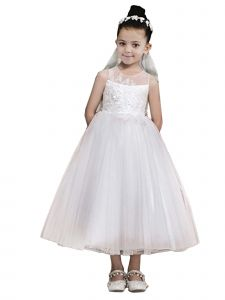 Little Girls Off White 3D Floral Lace Illusion Back Flower Girl Dress 2-6