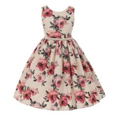 Little Girls Rose Floral Print Pearl Bead Accented Flower Girl Dress 2-6