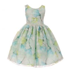 Big Girls Mint Floral Print Pearl Bead Accented Junior Bridesmaid Dress 8-14