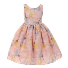 Little Girls Pink Floral Print Pearl Bead Accented Flower Girl Dress 2-6