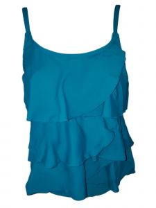 Women's Blue Multi-Tiered Brief Tankini Swimsuit 8-16
