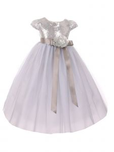 Big Girls Silver Sequin Bodice Floral Adornment Tulle Flower Girl Dress 8-12