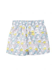 Azul Little Boys Khaki Lemon Fish Print Elastic Band Drawstring Swim Shorts 2-6