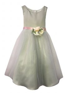 Petite Adele Little Girls Sage Satin Tulle Flowers Flower Girl Dress 2-6