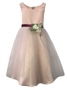 Petite Adele Big Girls Champagne Tulle Flowers Junior Bridesmaid Dress 8-12