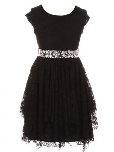 Just Kids Big Girls Black Lace Cap Sleeved Ruffle Junior Bridesmaid Dress 8-14