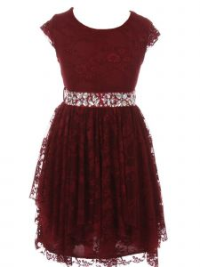 Just Kids Little Girls Burgundy Lace Ruffle Cap Sleeve Flower Girl Dress 4-6