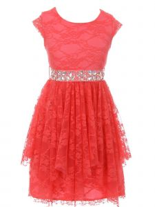 Just Kids Big Girls Coral Lace Cap Sleeved Easter Junior Bridesmaid Dress 8-14
